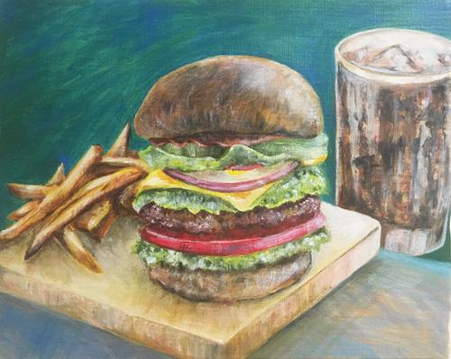 油絵作品「ハンバーガー」