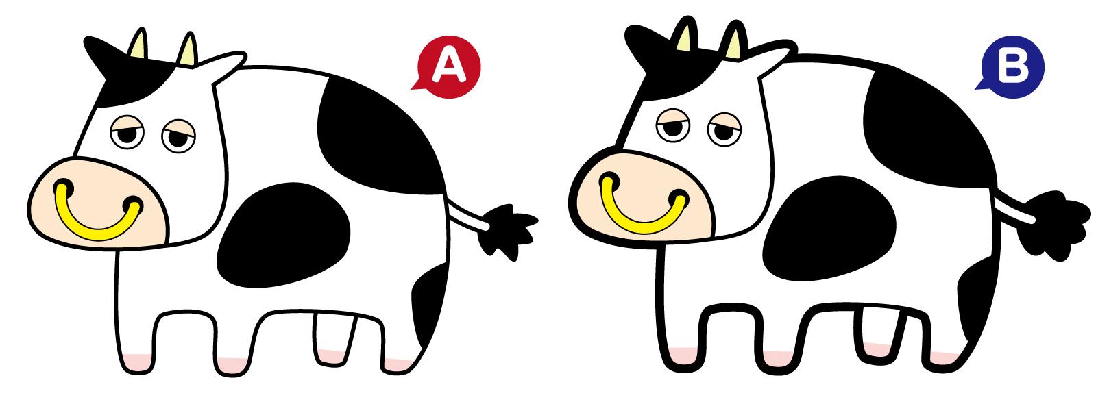 アウトラインがある牛とない牛のイラスト