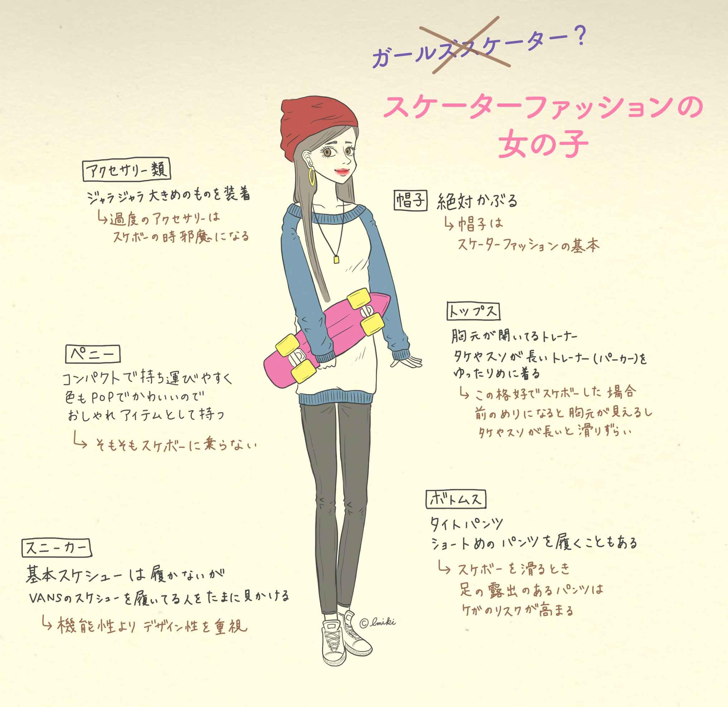 スケーターファッションの女の子