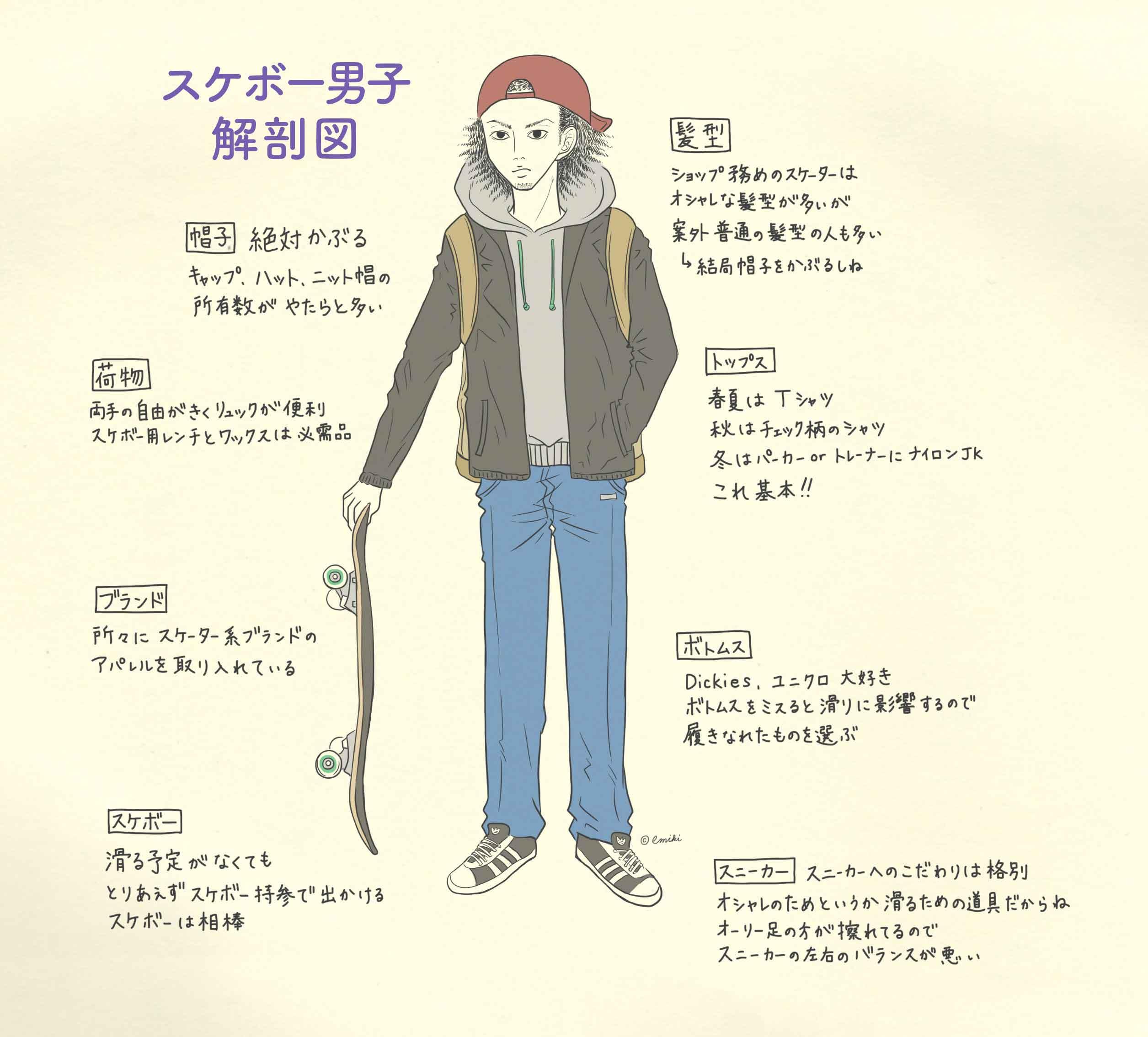スケボー男子解剖図