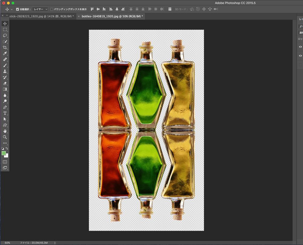 Photoshopを使った映り込み(鏡面反射)を、画像を反転させて作る