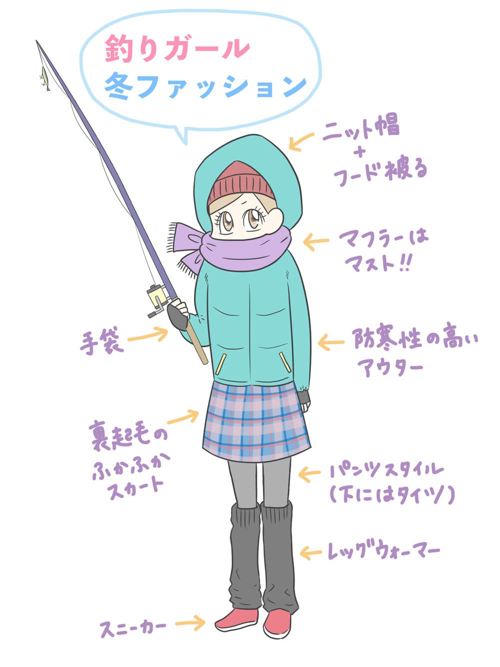 釣りガールの冬ファッション