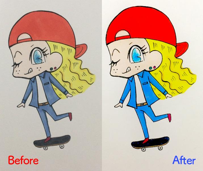 アプリ不要!iPhoneだけで手描きイラストや画像を加工する方法(Before・After)