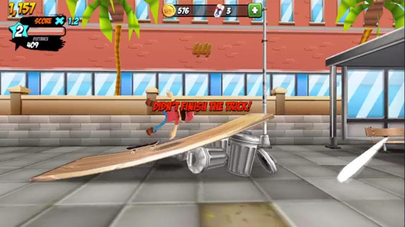 Epic Skater失敗!ゲームオーバー