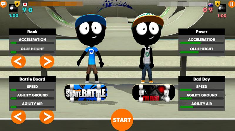 Stickman Skate Battle 全世界の人と対戦ができる