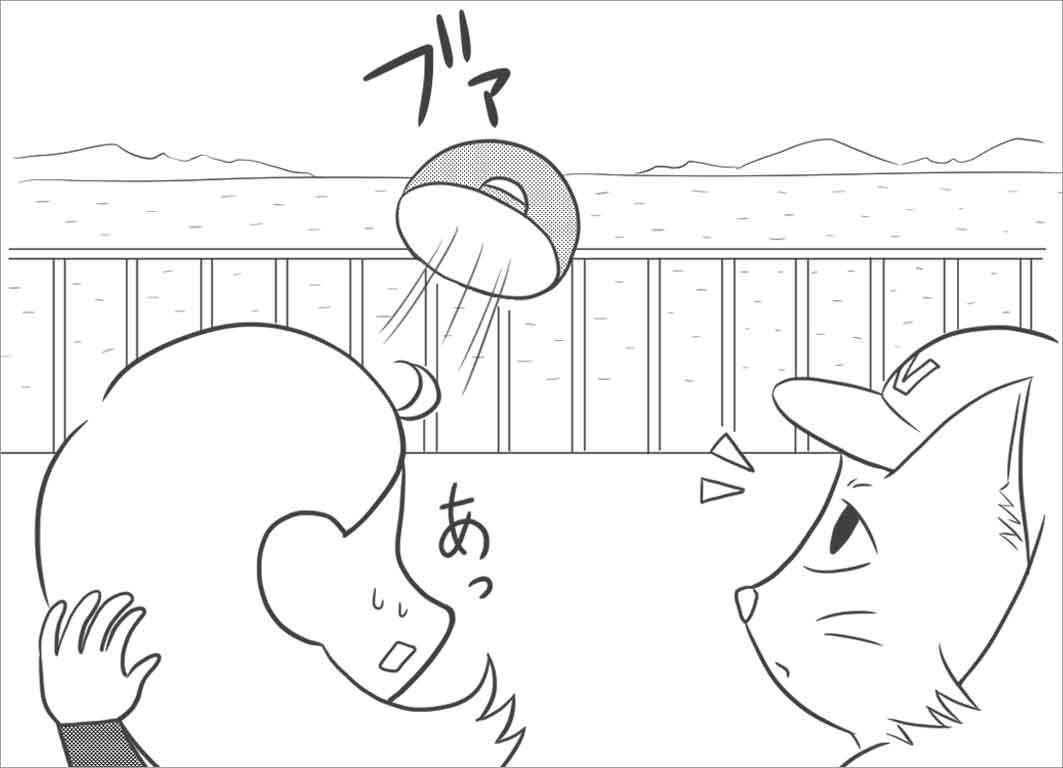 風が吹いて帽子が飛ぶ