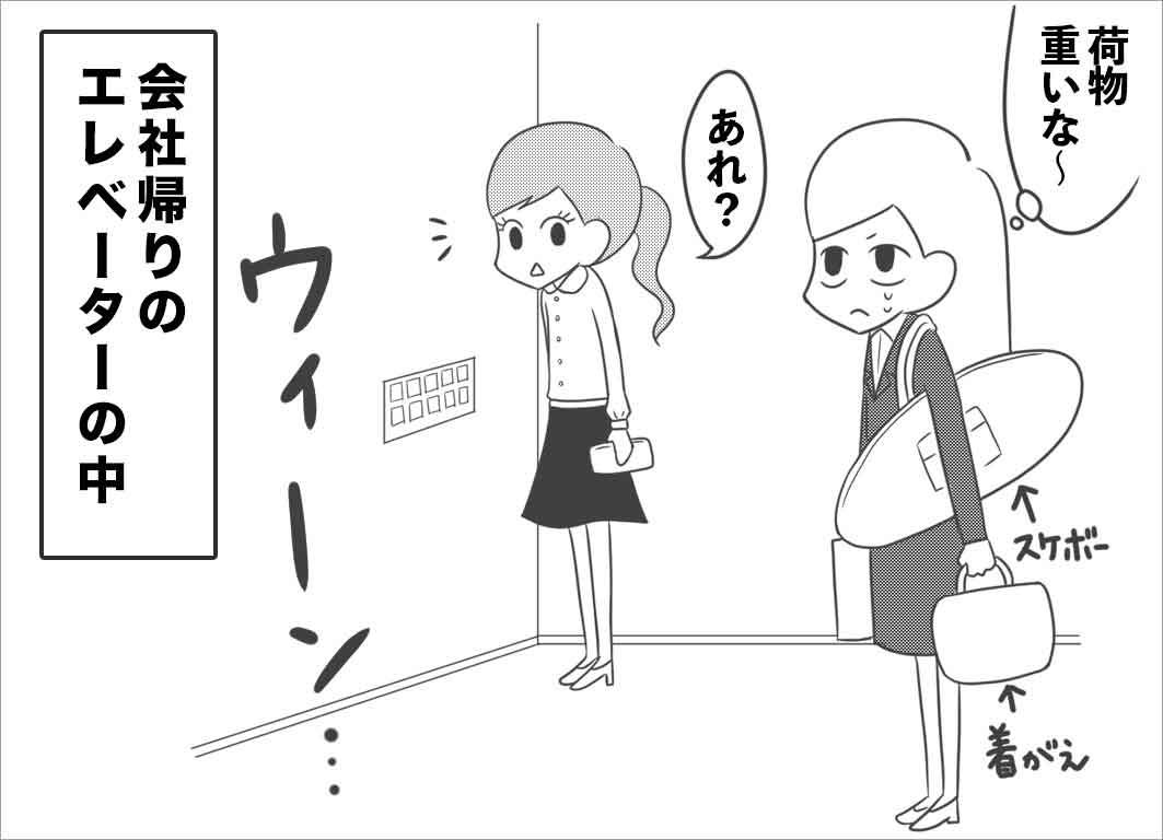 会社帰りのエレベーターの中、スケボーの道具を担いで大荷物