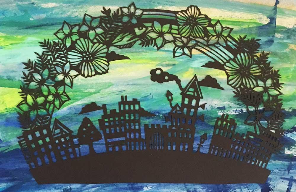 切り絵の練習6作品目「夜の街並み」