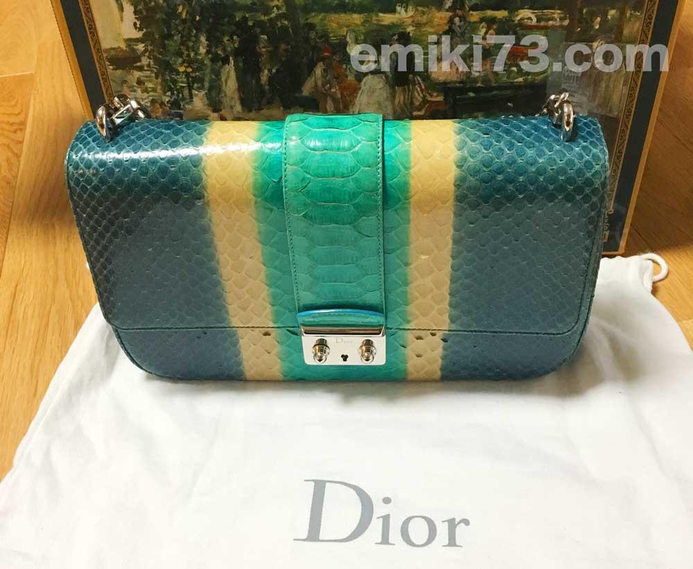 ラクサス2回目にレンタルした「Christian Dior/パイソン柄ショルダーバッグ」実物